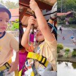 Netizen Kagum Anak Aliff Syukri Baru Umur 4 Tahun Dah Berani Naik 'Flying Fox'